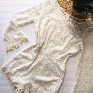 BB Dakota white lace boho romper